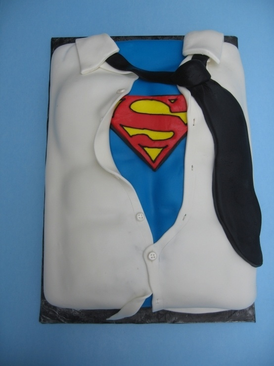 Grooms Cake - Superman costume under white shirt with tie.