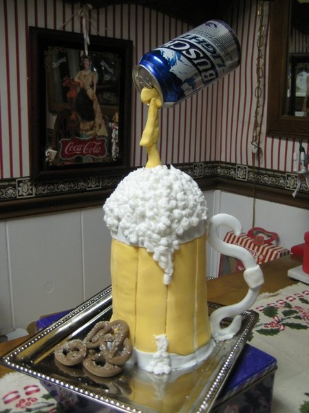 Grooms Cake - Beer can pouring pouring into beer mug.