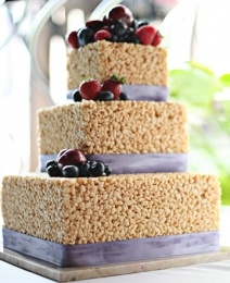 Grooms Cake - Rice Krispies Treats Stacked Big To Small.