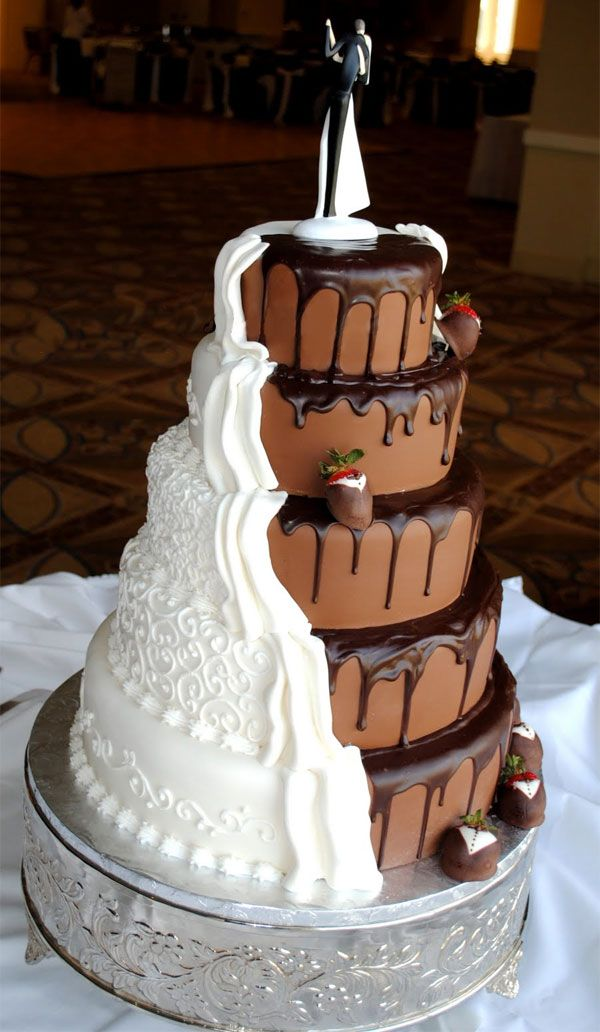 Grooms Cake and Wedding Cake split down the middle.