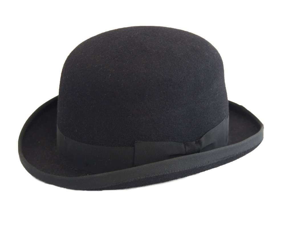 black bowler hat with black band.