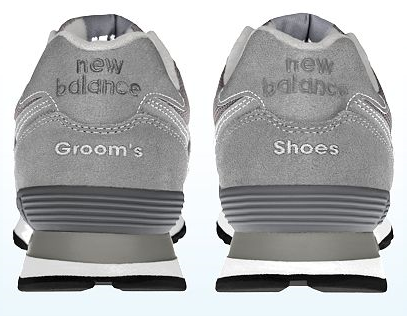 Personalized shoes with the word groom's and shoes on the back.