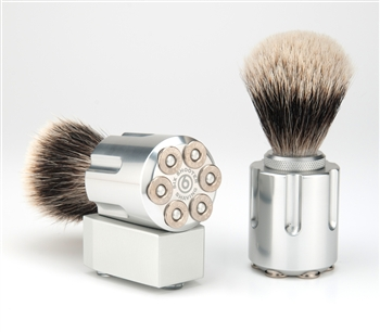 Shaving brush made out of a guns bullet holder.
