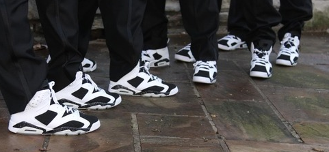 Groom and groomsmen wearing Reebok shoes.