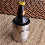Beer bottle in personalized silver koozie.