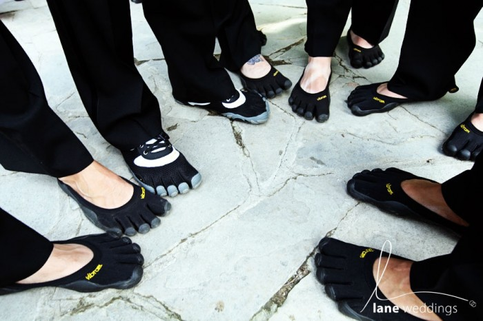 Groom and groomsmen wearing Vibram Fivefingers Shoes.