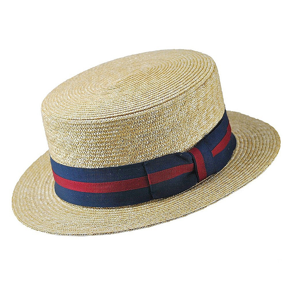 straw boater hat with blue and red stripped band.