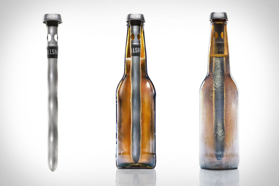 A tool that goes into a beer bottle to keep it cold.