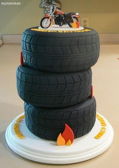 Grooms Cake ~ Stacked Motorcycle Tires.