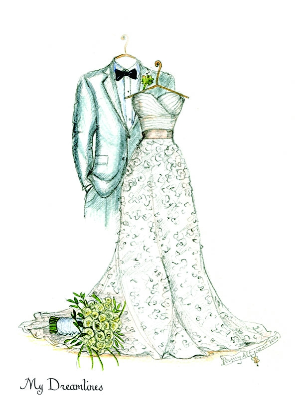My Dreamlines sketch of groom suit and wedding dress.