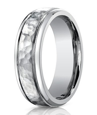 Hammered and Smooth Finish Titanium Men's Wedding Band.