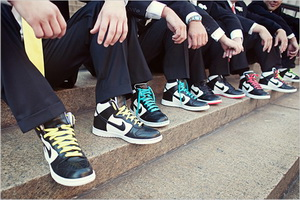 Groom and groomsmen with Nike wedding shoes.