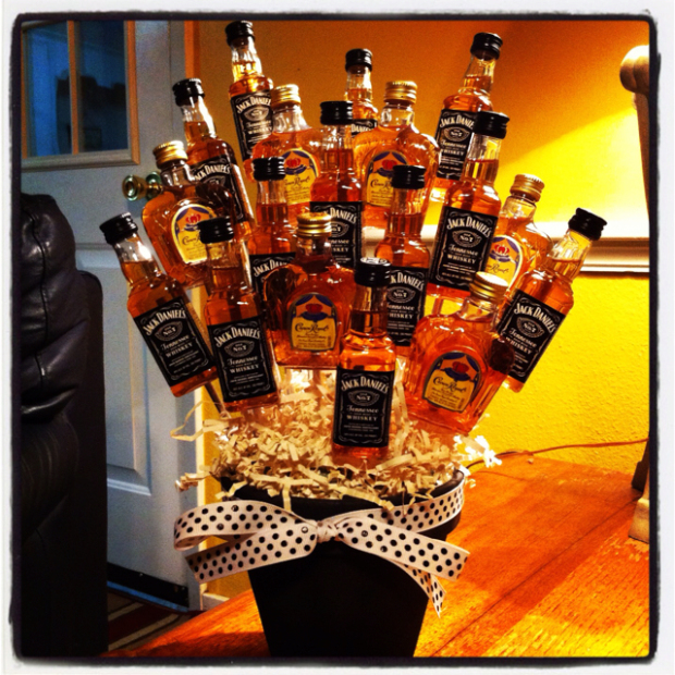 Bouquet of tiny jack Daniels liquor bottles.