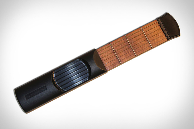 A shortened version of the strings part of a guitar that's portable for practice.
