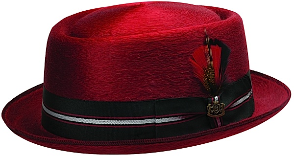 red porkpie hat with black, red and silver band including feather.