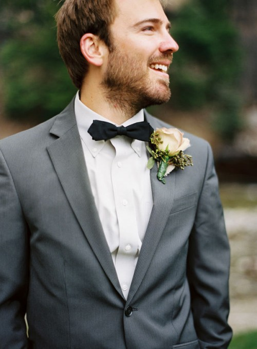 A groomsmen dressed for the wedding.