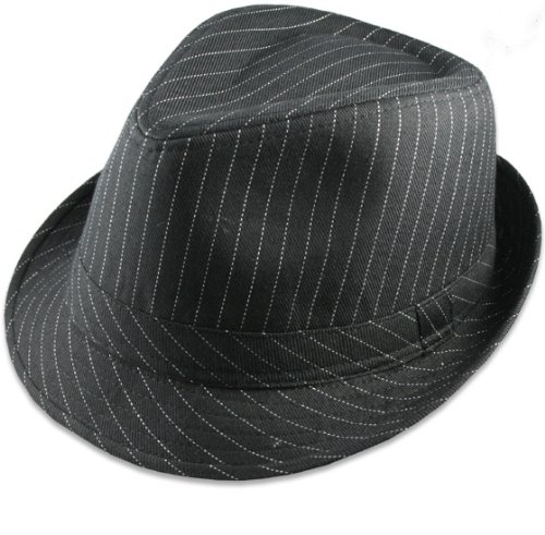 black with white pinstripes trilby hat.